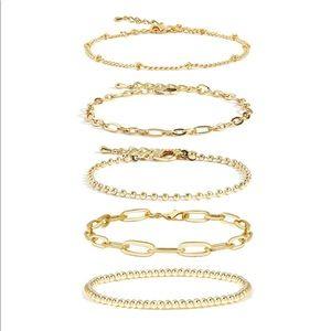 14K Gold Bracelets Set Adjustable
